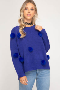Fur Pom Pom Sweater, Blue