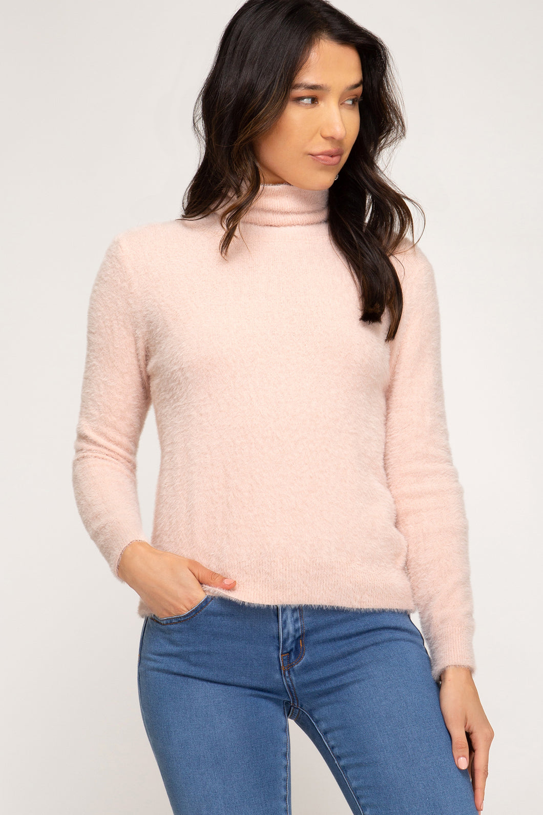 Fuzzy Knit Turtleneck, Pastel Pink