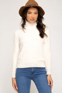 Fuzzy Knit Turtleneck, Ivory