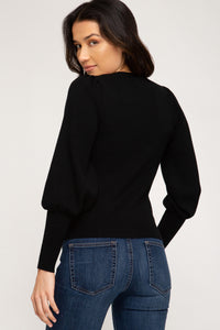 Campbell Rib Top, Black