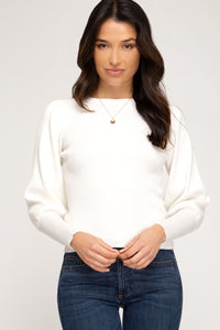 Campbell Rib Top, Ivory