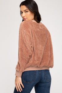 Faux Fur Sweater, Rose