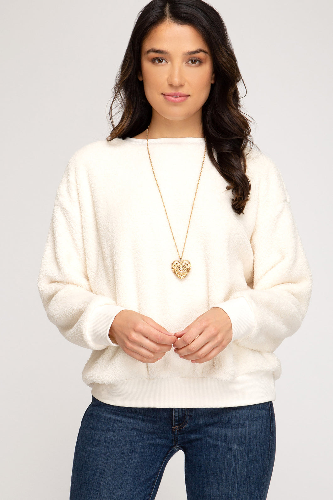 Faux Fur Sweater, Ivory
