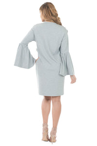 Flower Applique Dress, Grey