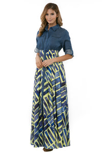 Maxi Denim Printed Dress
