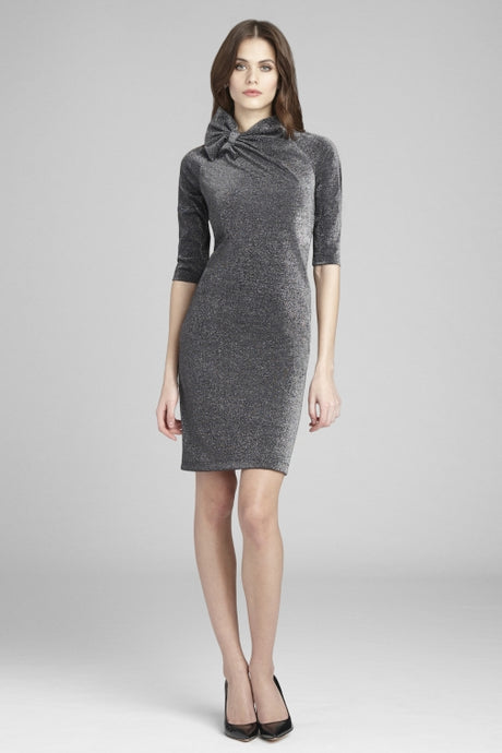 Metallic Knit Dress With Bow