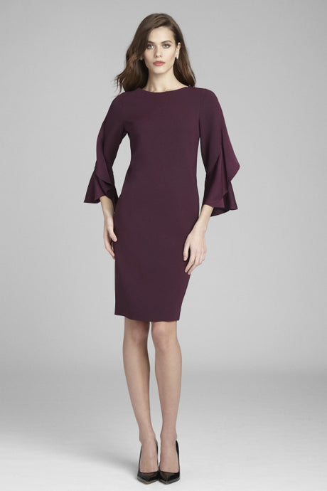 Sheath Ruffled Sleeve Dress