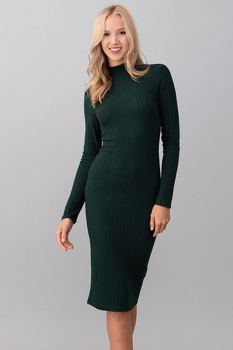 Harper Rib Dress, Hunter Green