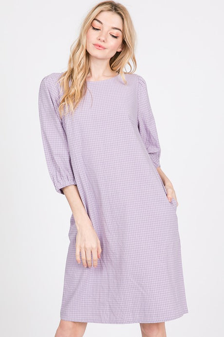 Cotton Checkered Shift Dress