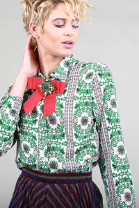 Embellished Bow Tie Blouse