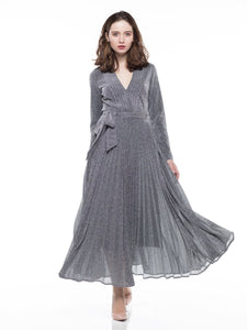 Metallic Pleated Dress