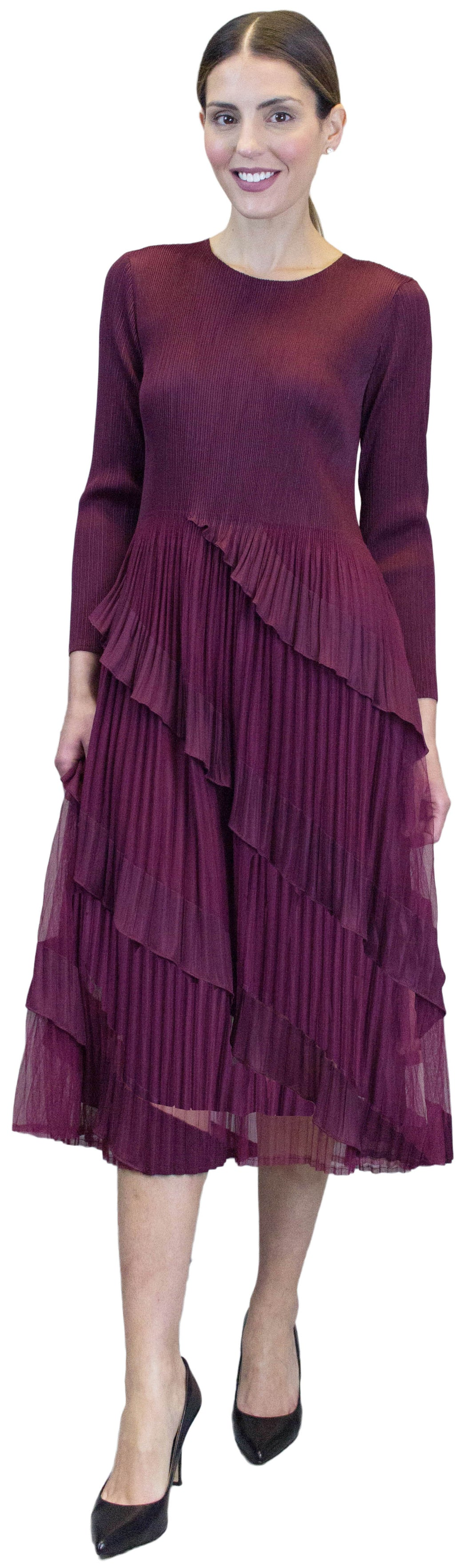 Multi Layered Dress, Burgundy