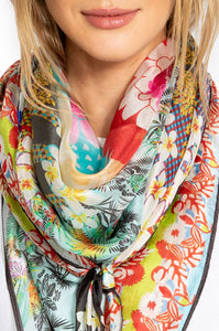 Floral Edge Silk Scarf by Johnny Was