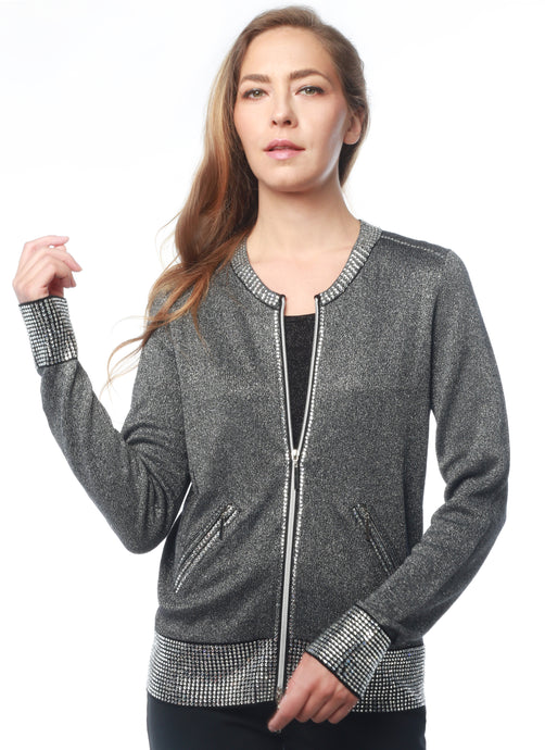 Rhinestone Zip-Up Sweater