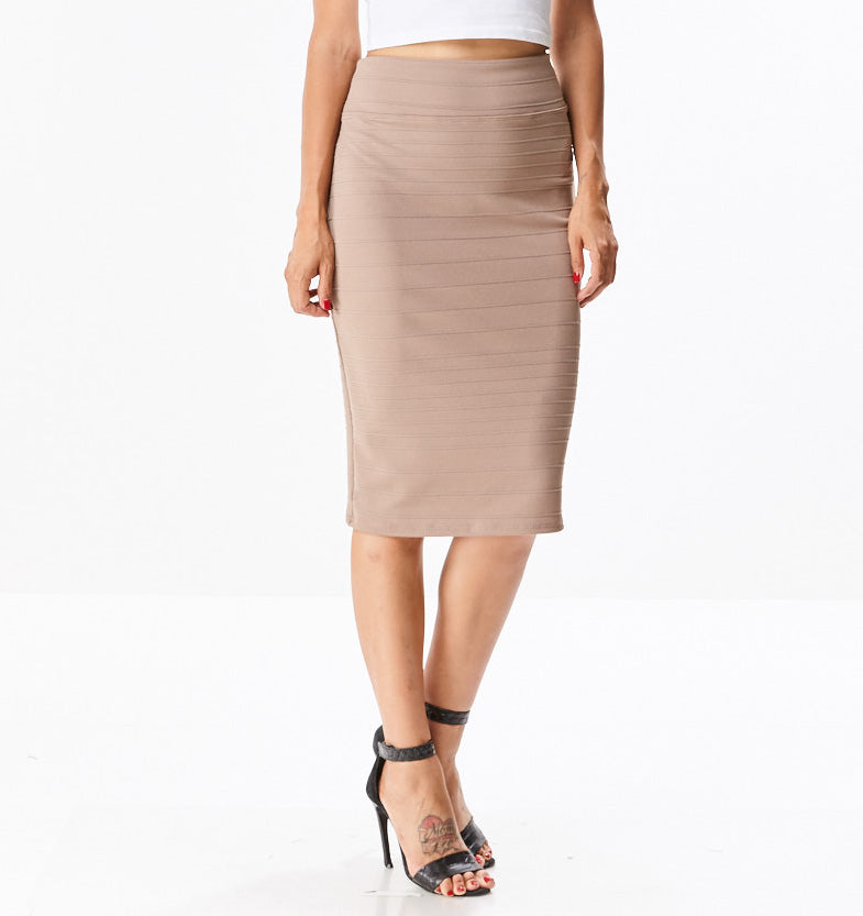 Paneled Straight Skirt
