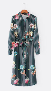 Pinstripe Floral Dress