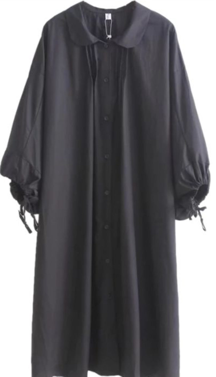 Oversized Shirt Dress, Black