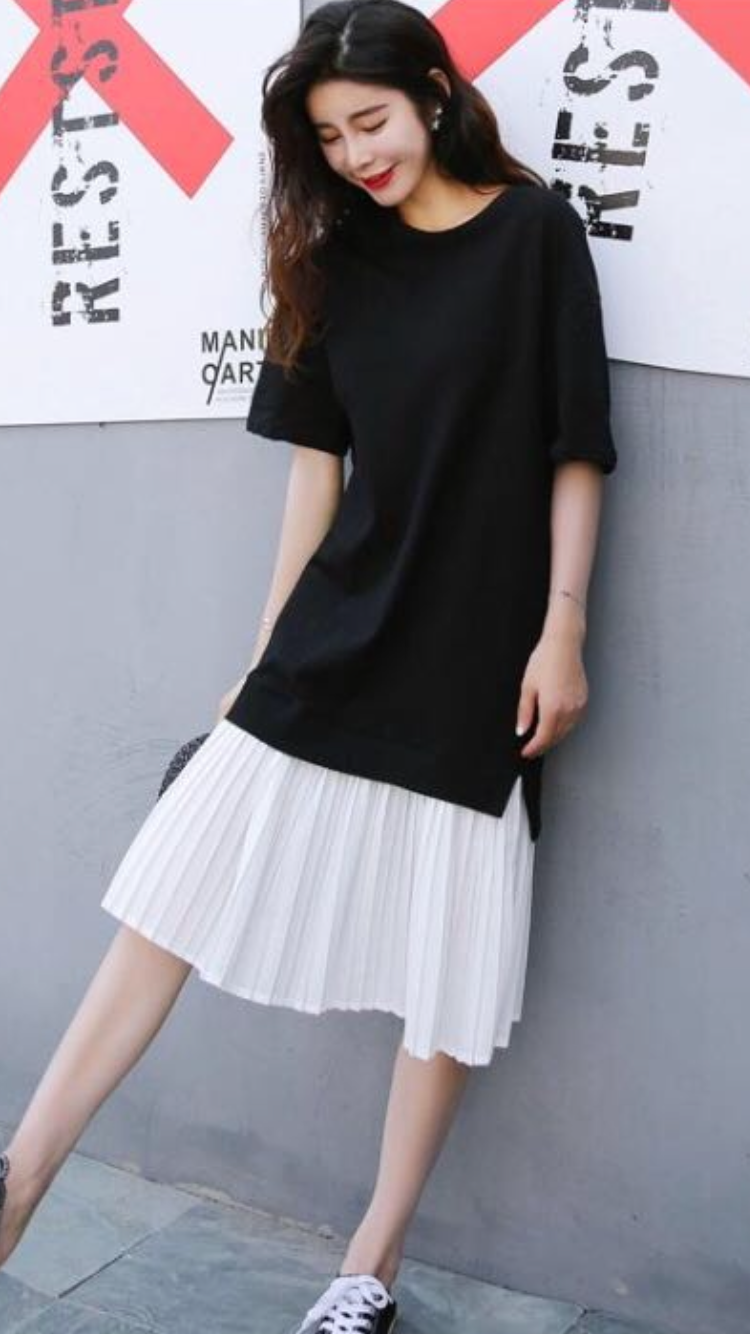 Pleated T-shirt Dress