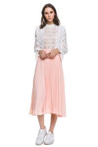 Blush Pleated Skirt