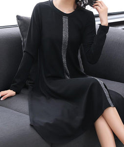 Knit Chiffon Panel Dress