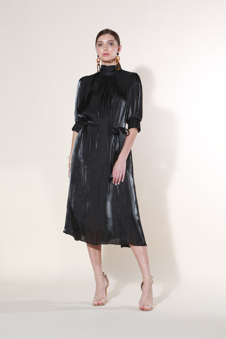 Mock Silk-Like Dress, Black