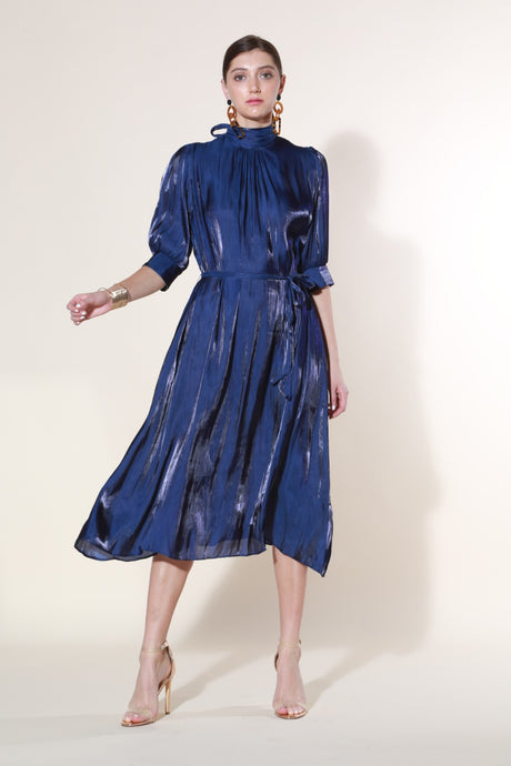 Mock Silk- Like Dress, Blue
