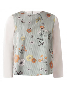 Floral Top With Pleated Back