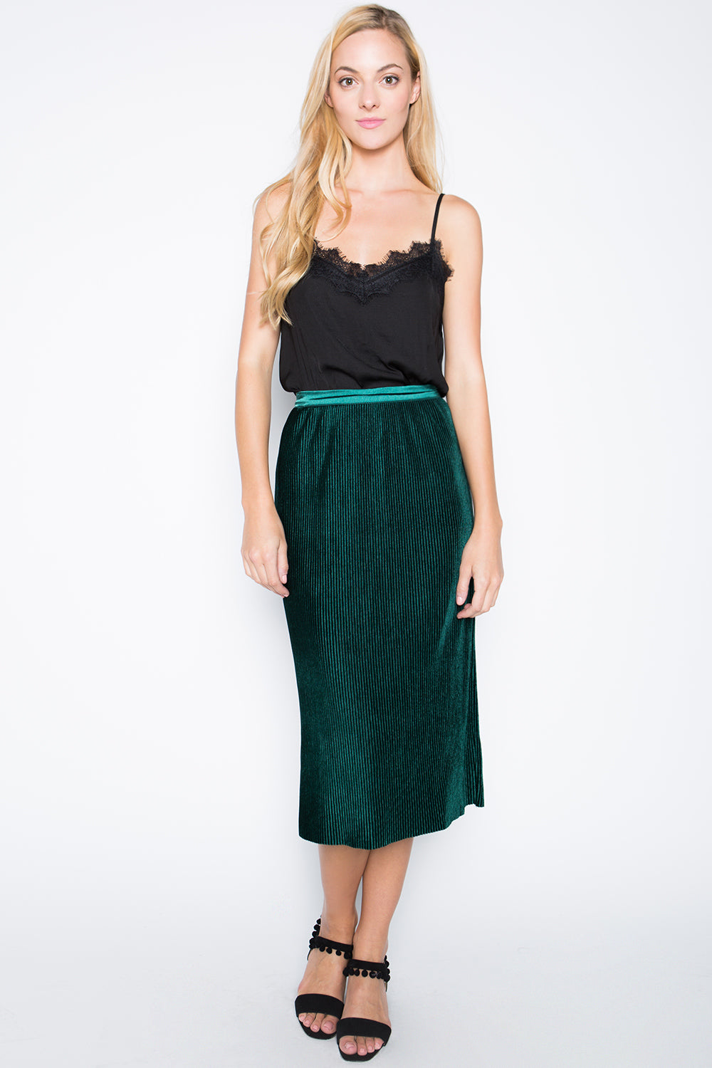 Micro Pleated Velvet Skirt, Emerald