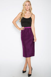 Micro Pleated Velvet Skirt, Purple