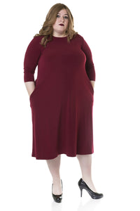 Tammee Dress, Burgundy