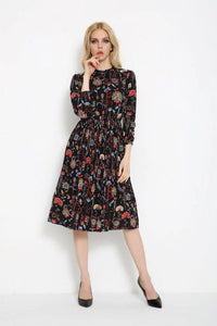 Cinched Waist Floral Dress