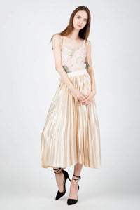 Satin Pleated Midi Skirt