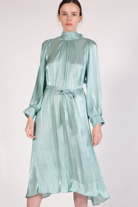 Mock Silk- Like Dress, Mint