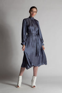 Mock Silk- Like Dress, Charcoal