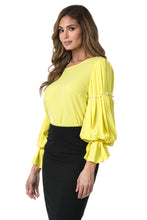 Pearl Trim Pleated Blouse