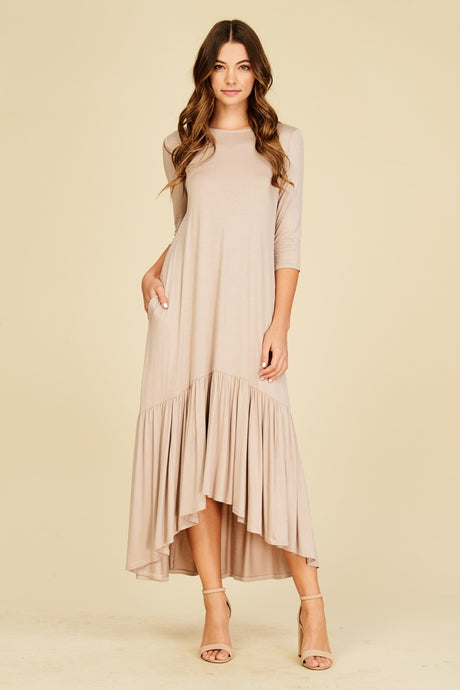 Hi-Low Ruffle Maxi Dress