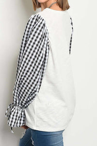 Gingham Bubble Sleeve Bow Top
