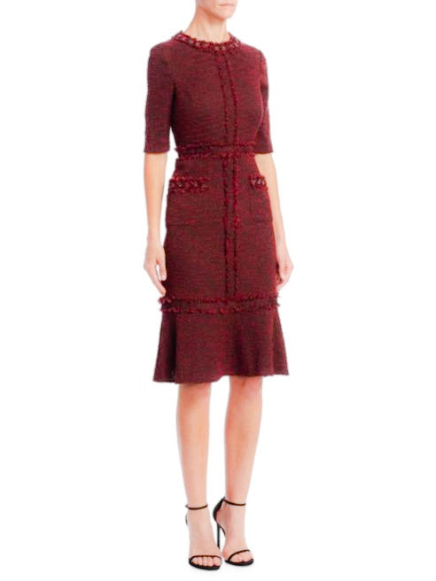 Cranberry Tweed Sheath Dress