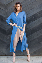 Long Sleeve Maxi Shirt, Dusk Blue