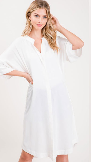 Button Shirt Dress, White