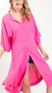Button Shirt Dress, Pink