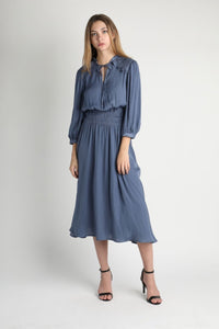 Silk-Like Midi Dress, Blue