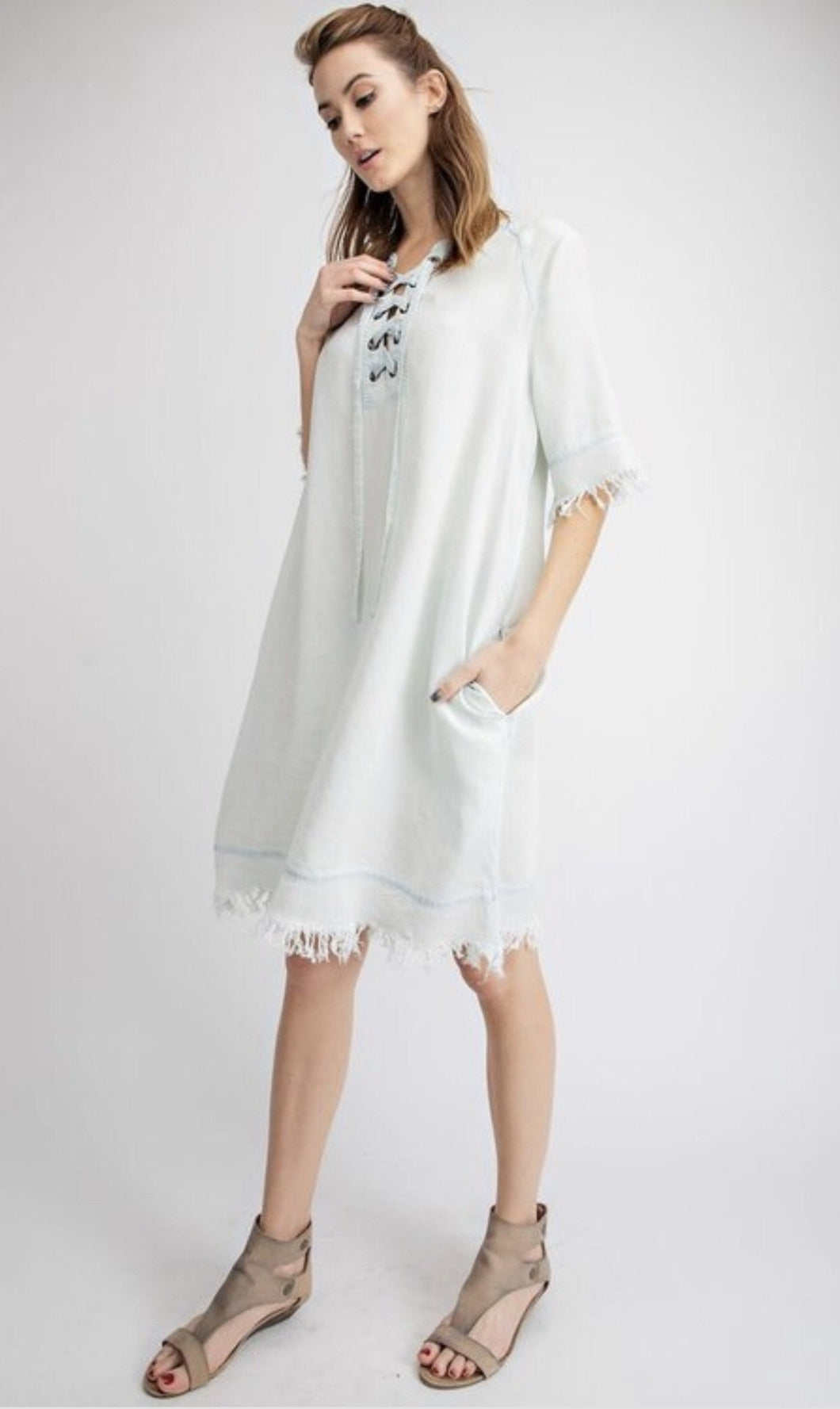 Washed Denim Fringe Dress