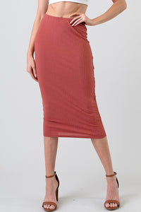 Rib Skirt, Terra-cotta Rose