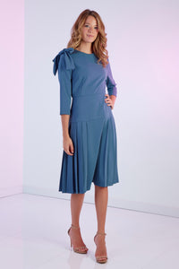 Bow Pleat Dress, Blue