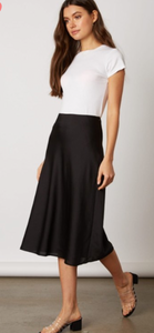 Midi Slip Skirt, Black