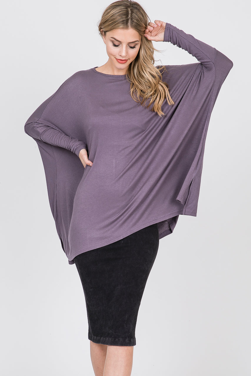 Ellie Top, Ribbed Dusty Lilac