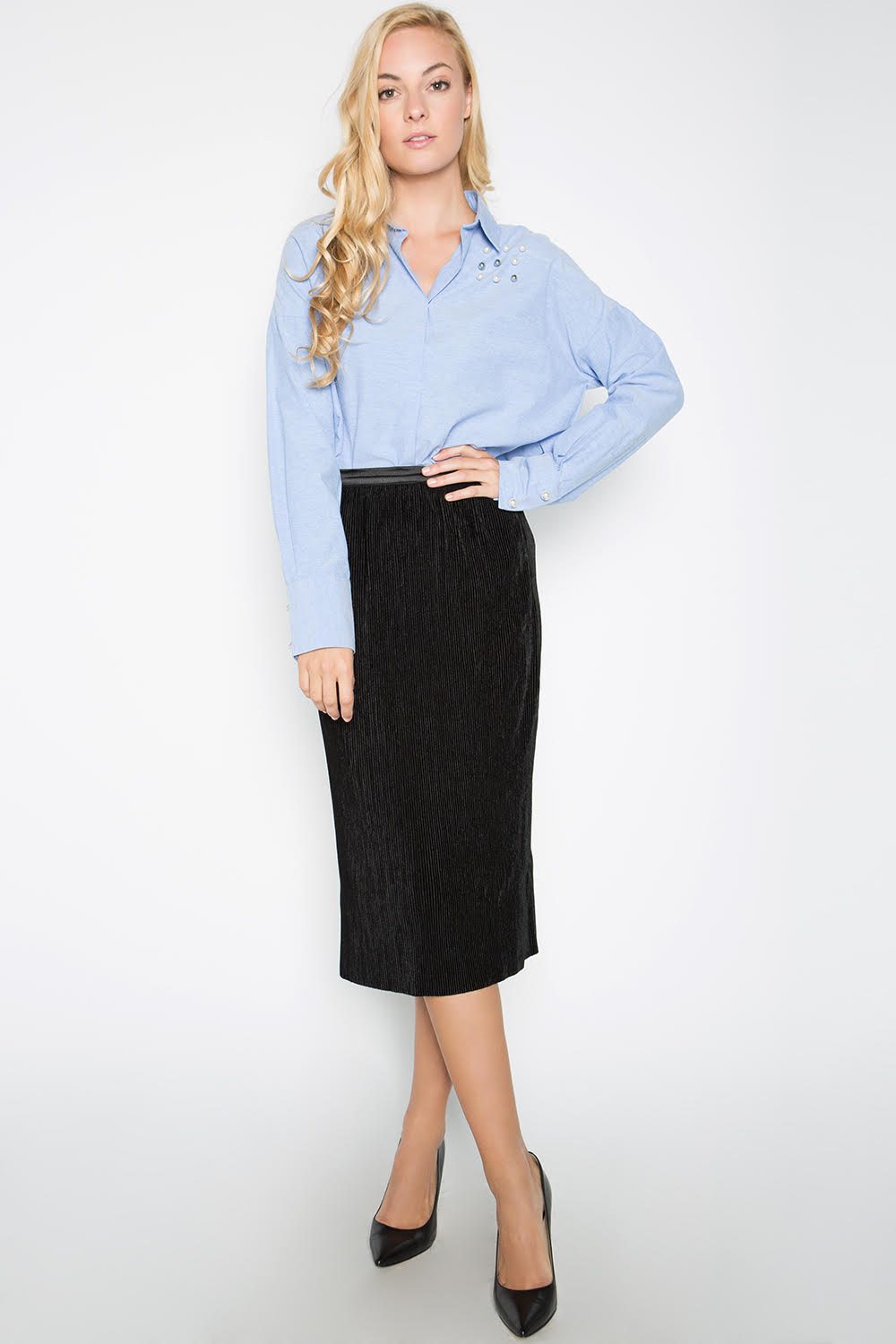 Micro Pleated Velvet Skirt, Black