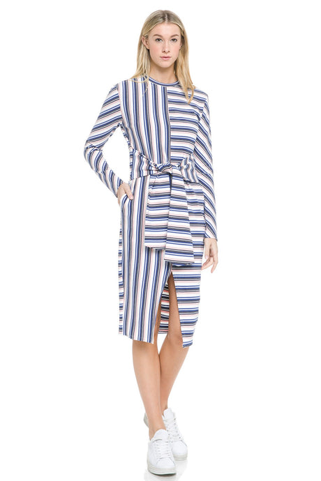 Stripe Twisted Waist Band Dress