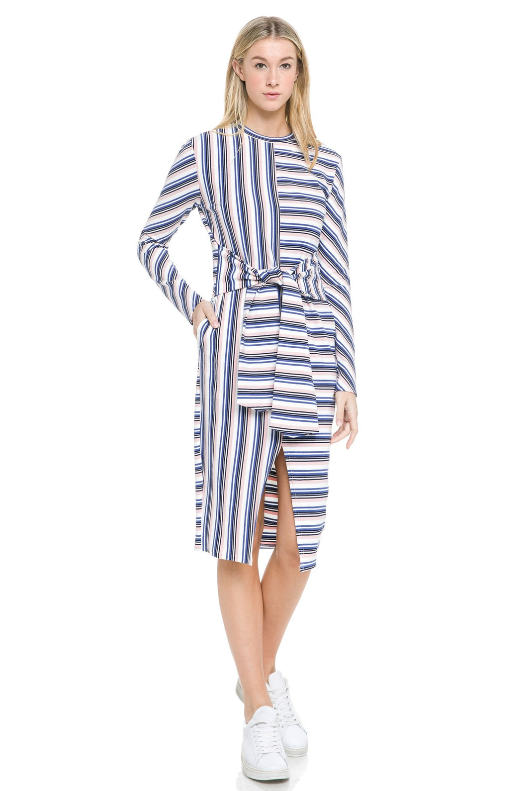 Striped Twisted Waist Band Dress